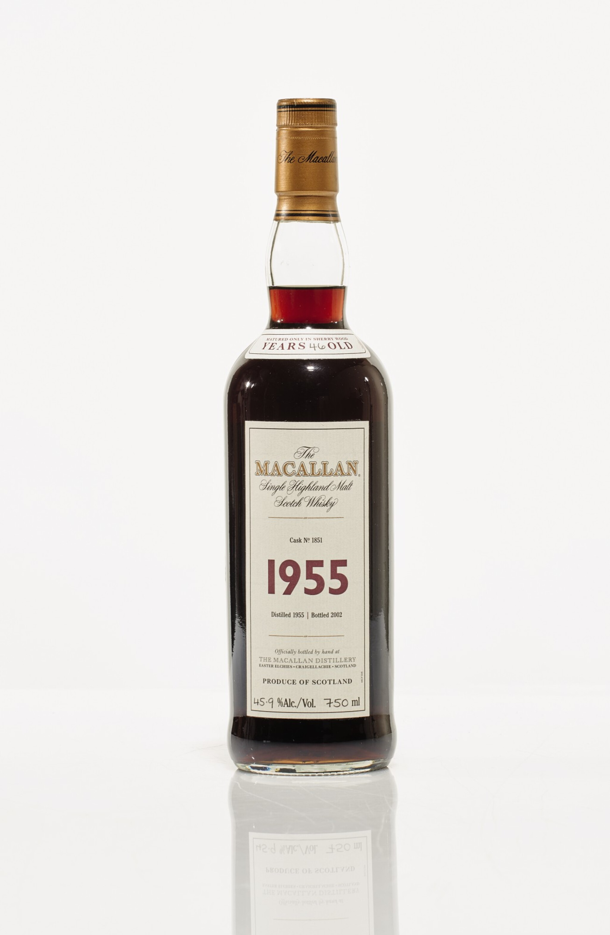 View full screen - View 1 of Lot 7. The Macallan Fine & Rare 46 Year Old 45.9 abv 1955 (1 BT75cl).