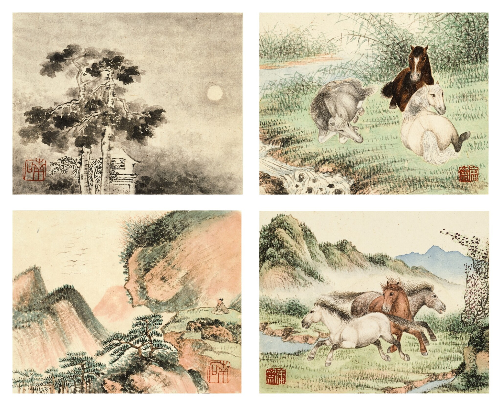 View full screen - View 1 of Lot 3015. PU JIN; PU ZUO 溥伒、溥佐 | Landscapes and Horses 山水駿馬合璧冊.