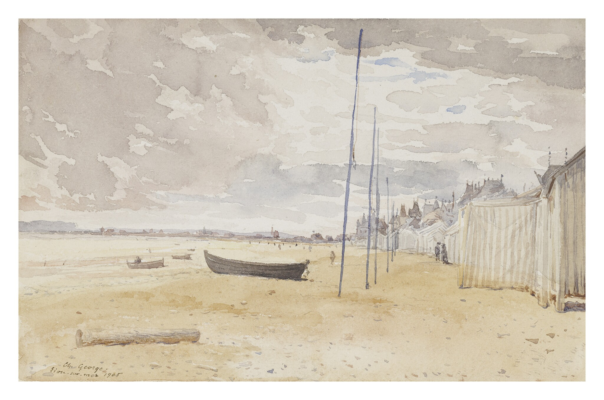 View full screen - View 1 of Lot 298. FRENCH SCHOOL, EARLY 20TH CENTURY | VIEW OF THE BEACH AT LION-SUR-MER.