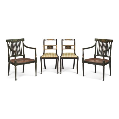 A PAIR OF REGENCY STYLE BLACK AND POLYCHROME PAINTED OPEN ARMCHAIRS AND A PAIR OF REGENCY STYLE EBONISED AND PARCEL-GILT SIDE CHAIRS