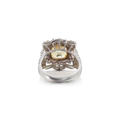 View 3. Thumbnail of Lot 7. COLOURED SAPPHIRE AND DIAMOND RING.