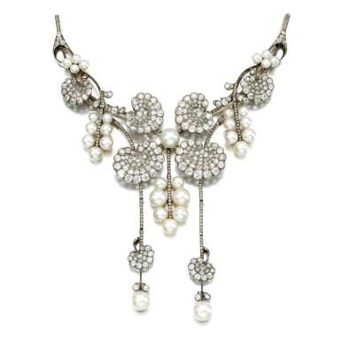 View 1. Thumbnail of Lot 30. Natural pearl, pearl and diamond stomacher, attributed to Boucheron, circa 1900.