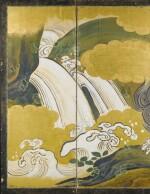 A RARE SIX FOLD PAINTED 'FROLICKING LION' SCREEN  JAPAN, EDO PERIOD, 19TH CENTURY [PARAVENT À SIX FEUILLES AU LION, ÉPOQUE EDO, XIXE SIÈCLE]