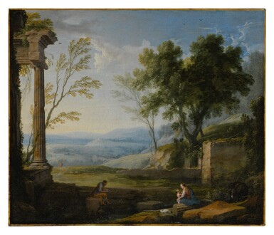 View 1. Thumbnail of Lot 640. Classical landscape with ancient ruins, figures in the foreground.