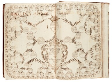 View 5. Thumbnail of Lot 179. Martínez Calderón, Epitome de las historias de la gran casa de Guzman, manuscript dated 1638, 2 volumes.