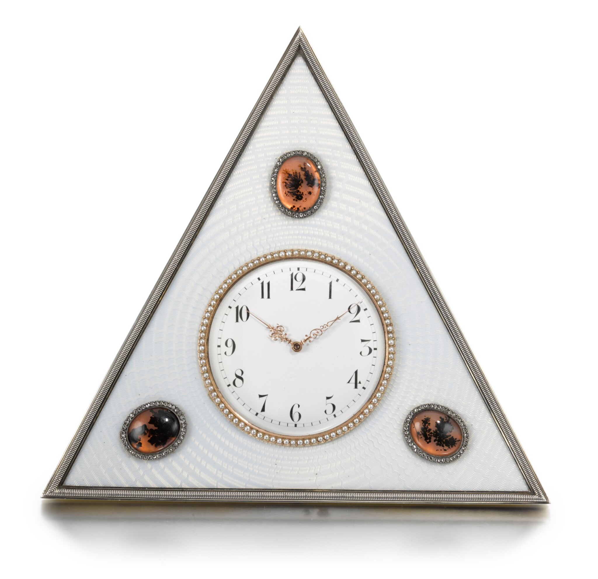View full screen - View 1 of Lot 25. A Fabergé jewelled silver, agate and guilloché enamel desk clock, workmaster Michael Perchin, St Petersburg, circa 1902.