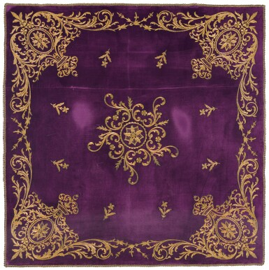 A LARGE OTTOMAN VELVET AND METAL-THREAD COVERLET OR HANGING, TURKEY, 19TH CENTURY