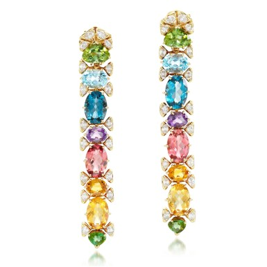 View 1. Thumbnail of Lot 102. Marina B | Pair of gem set and diamond earclips.
