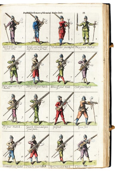 View 5. Thumbnail of Lot 242. Hexham, Principles of the art militarie, London, 1637, black morocco gilt, presentation copy to Charles II.