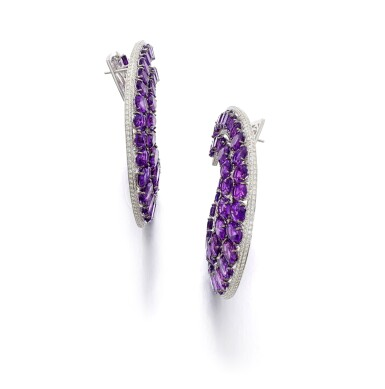View 2. Thumbnail of Lot 30. MICHELE DELLA VALLE   PAIR OF AMETHYST AND DIAMOND EARRINGS.