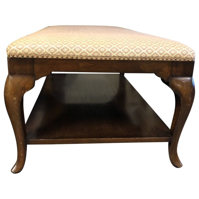 Queen Anne Style Upholstered Two-Tier Coffee Table