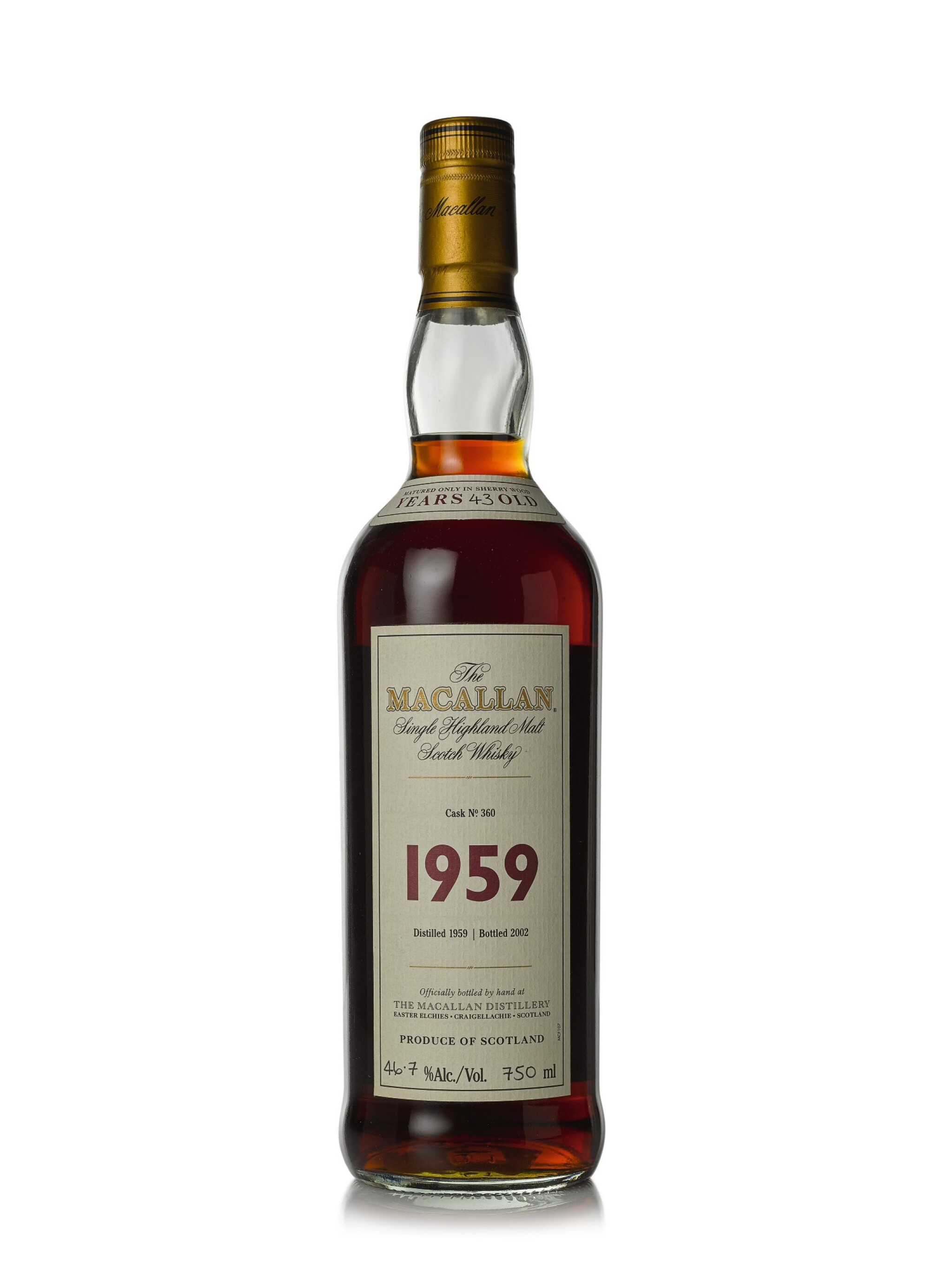 View 1 of Lot 11. The Macallan Fine & Rare 43 Year Old 46.7 abv 1959 (1 BT75cl).