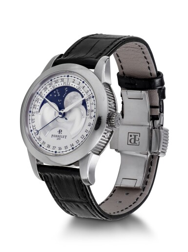 PERRELET |  REF A1039 STAINLESS STEEL WRISTWATCH WITH DATE AND MOON PHASES CIRCA 2010