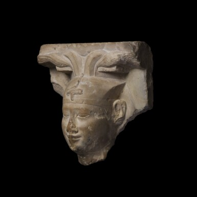 View 3. Thumbnail of Lot 36. An Egyptian Limestone Head of a King, early Ptolemaic Period, circa 304-350 B.C..
