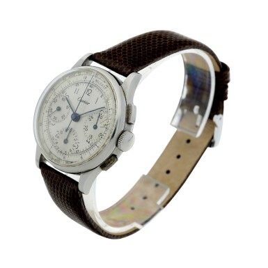 View 2. Thumbnail of Lot 97.  LECOULTRE   REFERENCE 7090  RETAILED BY CARTIER: A STAINLESS STEEL CHRONOGRAPH WRISTWATCH, CIRCA 1945.