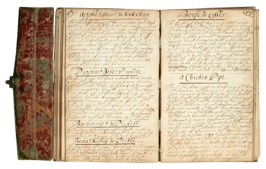 View 1. Thumbnail of Lot 47. MEDICINE   Manuscript medical and culinary recipe book, 17th centuy.