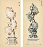 A SET OF SIX PAINTINGS OF SCHOLAR'S ROCKS QING DYNASTY, 19TH CENTURY | 清十九世紀 《賞石圖》一組六幅