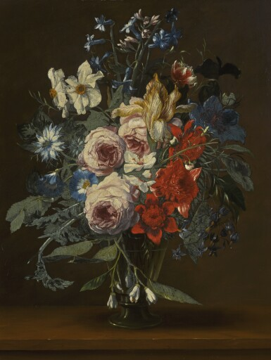 HIERONYMUS GALLE THE ELDER | Still life with flowers in a glass vase