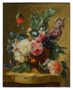 DUTCH SCHOOL, CIRCA 1750-1800 | STILL LIFE OF FLOWERS IN A TERRACOTTA VASE ON A MARBLE LEDGE