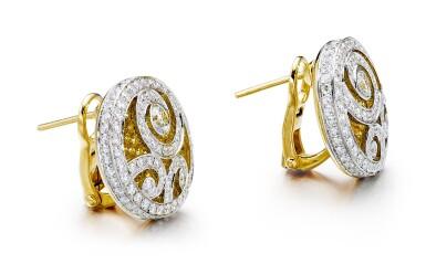 GRAFF | 'DIAMOND ON DIAMOND' PAIR OF DIAMOND AND COLOURED DIAMOND EARRINGS | 格拉夫 | 'Diamond on Diamond' 鑽石 配 彩色鑽石 耳環一對