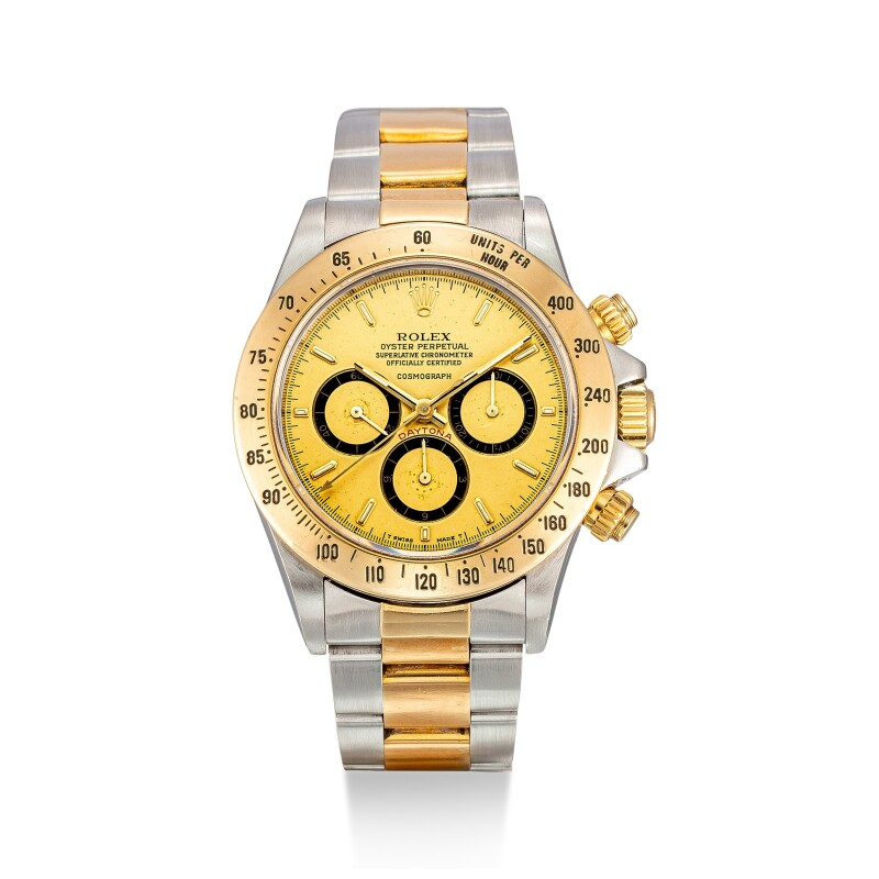 Cosmograph Daytona, Reference 16523  A Stainless Steel and Yellow Gold Chronograph Wristwatch with Suspended Logo and Bracelet, circa 1988