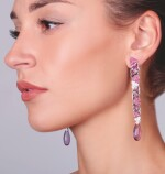 PAIR OF AMETHYST, RUBY AND DIAMOND EARRINGS, MICHELE DELLA VALLE