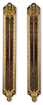 A PAIR OF LOUIS XIV STYLE GILT-BRONZE MOUNTED TURTLESHELL AND BRASS INLAID EBONY BOULLE MARQUETRY THERMOMETER AND BAROMETER SECOND HALF OF THE 19TH CENTURY