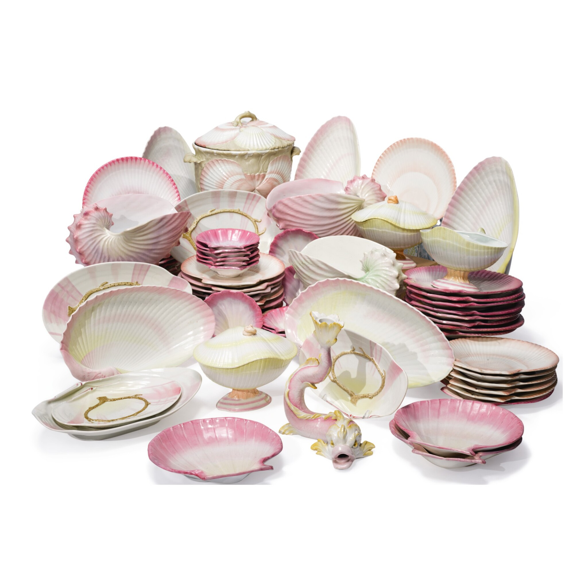 View full screen - View 1 of Lot 493. AN EXTENSIVE ASSEMBLED WEDGWOOD 'WREATHED SHELL' PART-DESSERT SERVICE, CIRCA 1820 AND 1864-82.