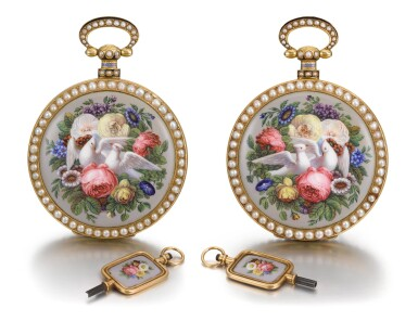 View 1. Thumbnail of Lot 292. BOVET FLEURIER | A PAIR OF GOLD, ENAMEL AND PEARL-SET WATCHES MADE FOR THE CHINESE MARKET, CIRCA 1825, NO. 176.