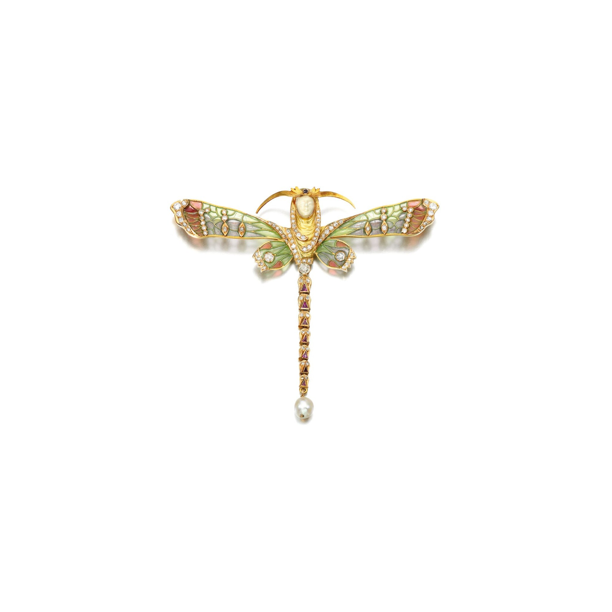 View full screen - View 1 of Lot 221. IVORY, GEM SET AND ENAMEL BROOCH, MASRIERA Y CARRERA, 1920S.