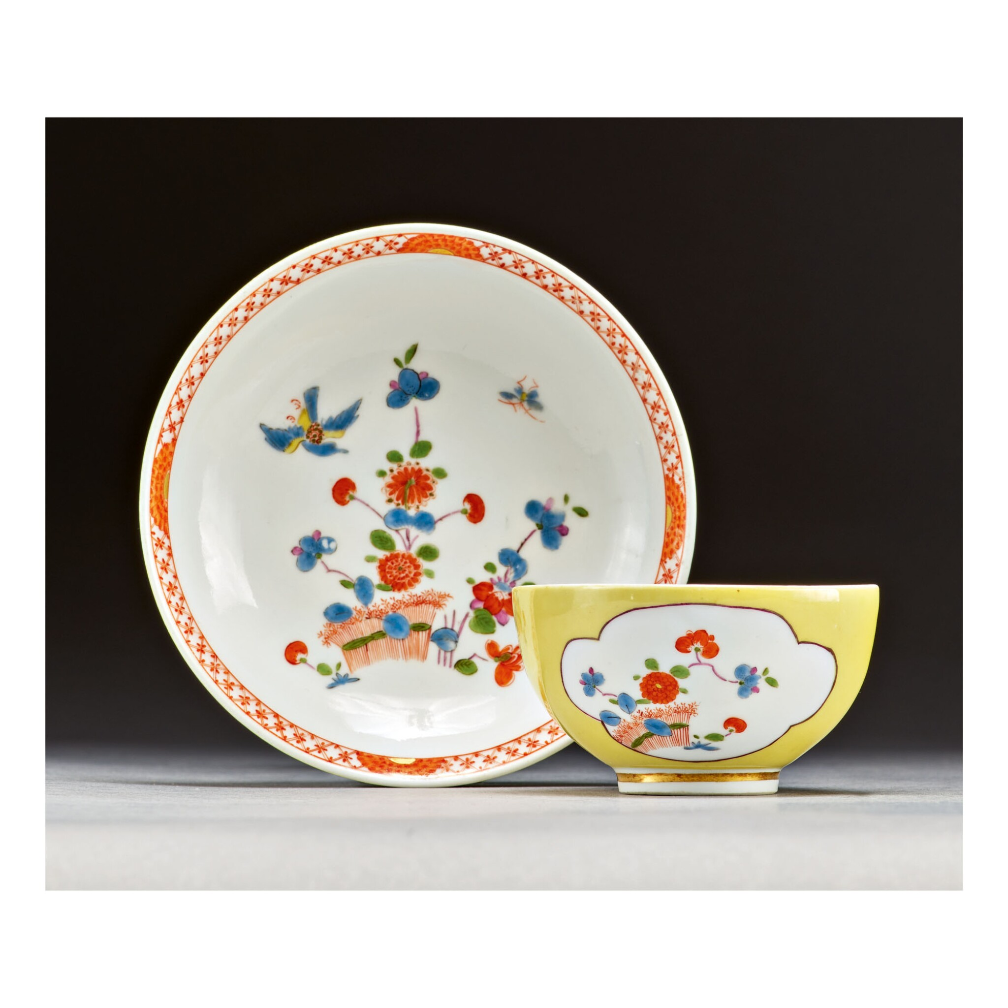 View full screen - View 1 of Lot 344. A MEISSEN YELLOW-GROUND TEABOWL AND SAUCER CIRCA 1735.