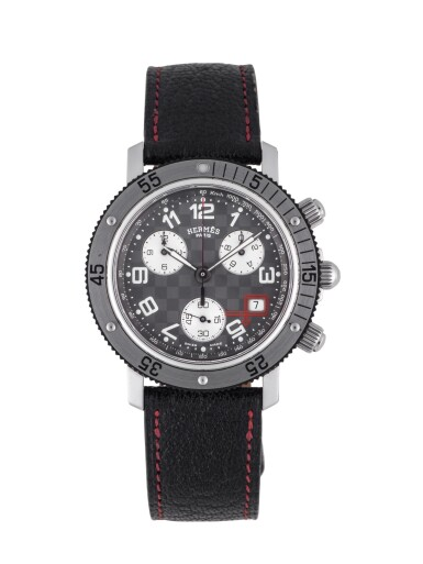 HERMÈS | TOUR AUTO 2005 LIMITED EDITION STAINLESS STEEL CHRONOGRAPH WRISTWATCH WITH DATE CIRCA 2005