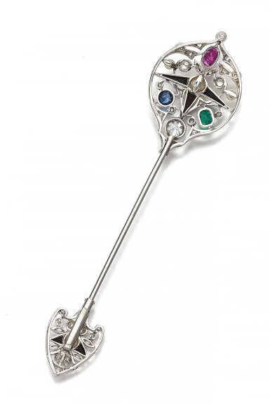 View 5. Thumbnail of Lot 43. GEM SET AND DIAMOND TIE PIN, EARLY 20TH CENTURY.