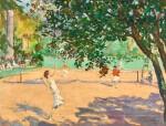 SIR JOHN LAVERY, R.A., R.S.A., R.H.A. | TENNIS UNDER THE ORANGE TREES, CANNES