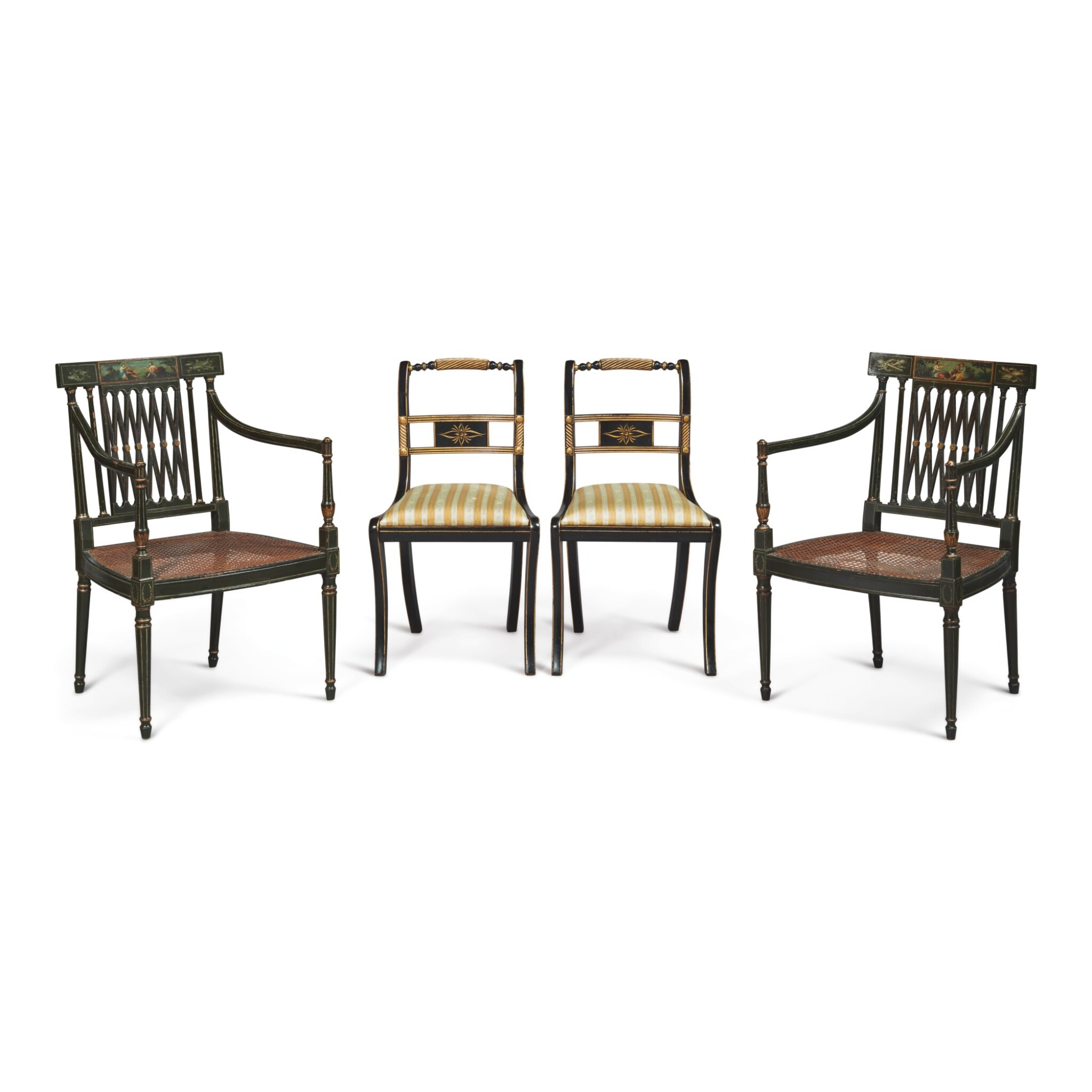 View full screen - View 1 of Lot 18. A PAIR OF REGENCY STYLE BLACK AND POLYCHROME PAINTED OPEN ARMCHAIRS AND A PAIR OF REGENCY STYLE EBONISED AND PARCEL-GILT SIDE CHAIRS.