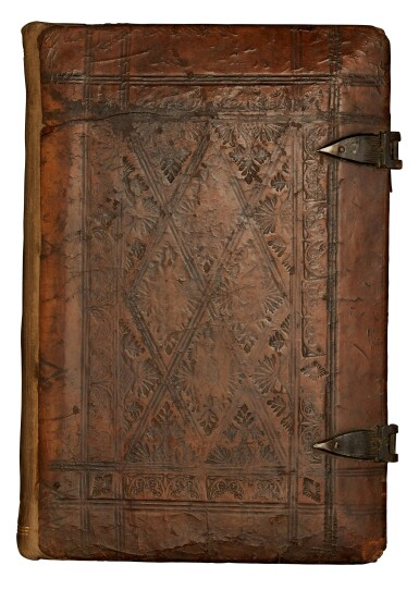 View 4. Thumbnail of Lot 127. Geoffrey of Monmouth, Methodius, Tiraqueau, Grapaldus, Paris, 1507-1517, English stamped calf.