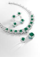 EMERALD AND DIAMOND PARURE | 天然「哥倫比亞」無油祖母綠 配 鑽石 套裝 (祖母綠及鑽石共重47.85及71.09卡拉)