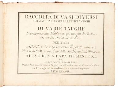 View 3. Thumbnail of Lot 48. Aquila, Raccolta di vasi diversi, Rome, 1713, contemporary mottled calf.
