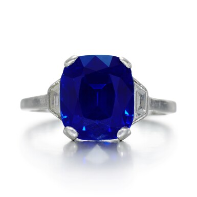 View 1. Thumbnail of Lot 139. Garrard & Co.   Sapphire and diamond ring, 1960s.
