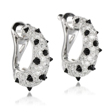 View 2. Thumbnail of Lot 42. Pair of onyx and diamond earrings.