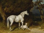 Alfred De Dreux | ETALON GRIS ET LÉVRIER (COUCHÉ AU BORD DE L'ALLÉE)