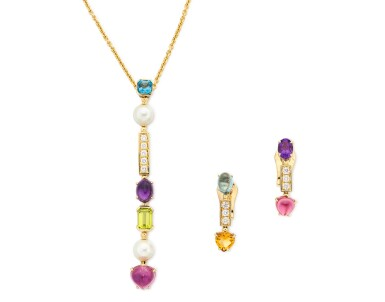View 1. Thumbnail of Lot 1630. 'Allegra' Gem Set and Diamond Demi-Parure | 寶格麗| 'Allegra' 寶石  配 鑽石 項鏈及耳環套装.