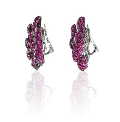 View 4. Thumbnail of Lot 18. Pair of ruby ear clips,Michele della Valle.