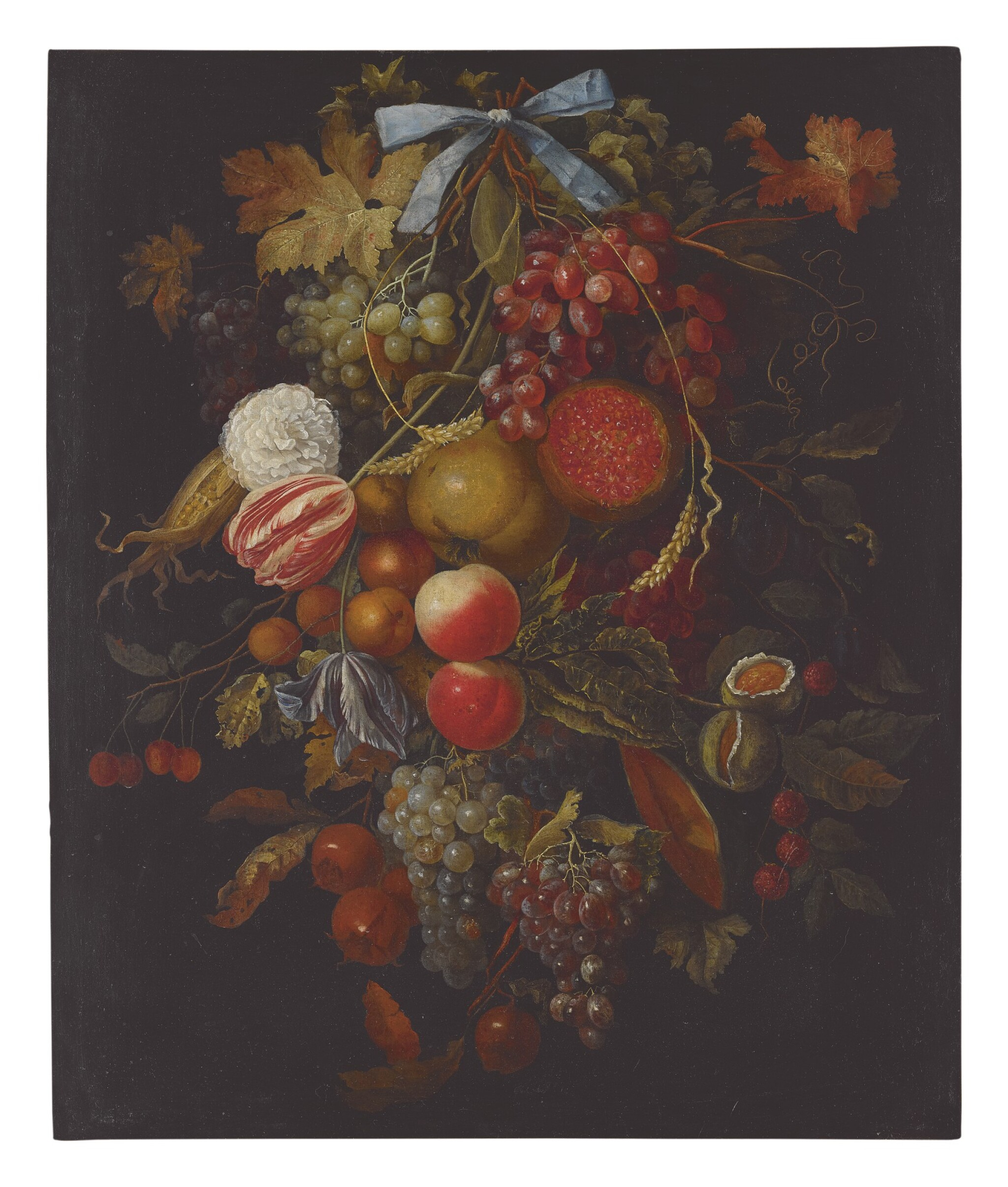 View full screen - View 1 of Lot 8. CIRCLE OF JACOB ROTIUS | STILL LIFE OF A HANGING BOUGH OF FRUIT AND FLOWERS INCLUDING GRAPES, PEACHES, FIGS, CORN, POMEGRANATES, CARNATIONS, AND TULIPS.