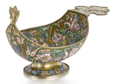 A SILVER-GILT AND CLOISONNÉ ENAMEL KOVSH, FEODOR RÜCKERT FOR OVCHINNIKOV, MOSCOW, 1899-1908