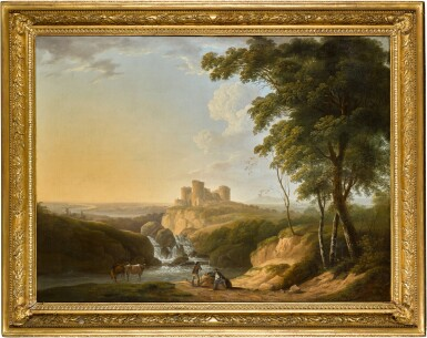 View 2. Thumbnail of Lot 440. An extensive landscape with a view of Chepstow Castle on a hill beyond.
