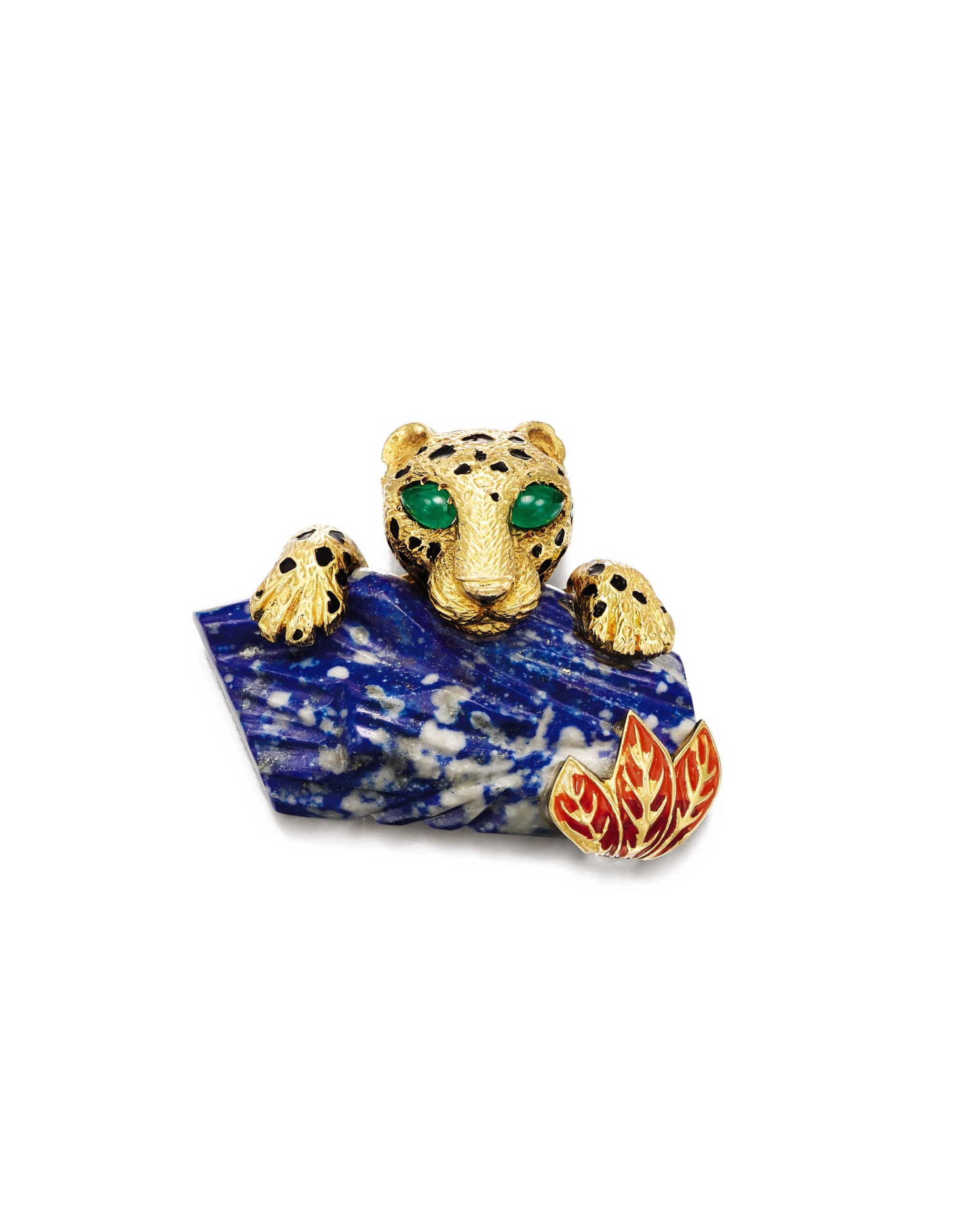 View full screen - View 1 of Lot 1659. Cartier   'Panthère' Lapis Lazuli, Emerald and Enamel Clip Brooch, Circa 1970   卡地亞  'Panthère' 青金石 配 祖母綠 及 琺琅彩 胸針, 約1970年.
