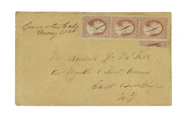 1851 3c Yellowish Rose Red, Vertical Third Used as 1c (11c)