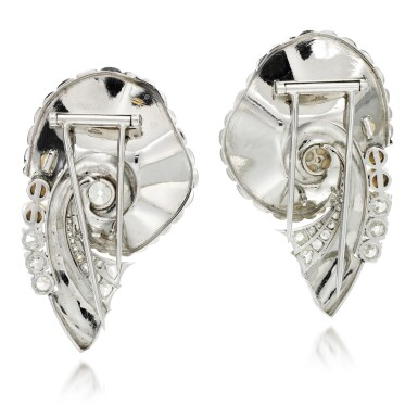 View 3. Thumbnail of Lot 160. Pair of pearl and diamond brooches.