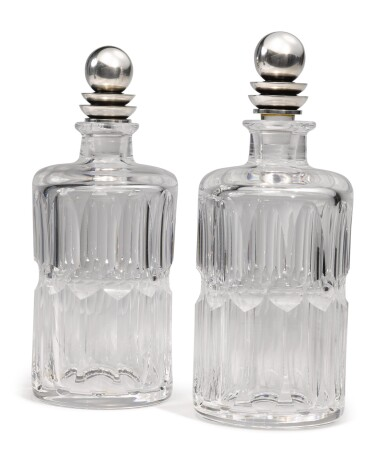 View 2. Thumbnail of Lot 327. A PAIR OF GLASS DECANTERS WITH DANISH SILVER STOPPERS, NO. 206C, DESIGNED BY HARALD NIELSEN, GEORG JENSEN SILVERSMITHY, COPENHAGEN, CIRCA 1915-27.